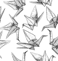 Origami paper cranes set sketch seamless pattern vector