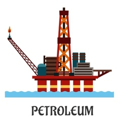 Flat oil offshore platform in the ocean vector