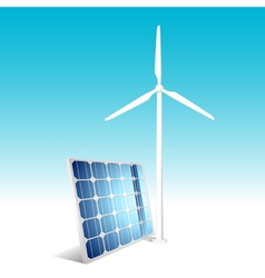Solar panel and wind generator vector