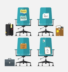 Set of office chair in flat design vector