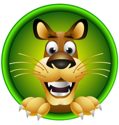 Skinny cute cartoon lion isolated vector