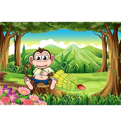 A monkey at the forest with a full stomach vector