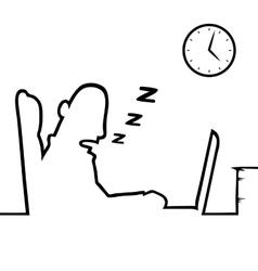 Man asleep at work vector