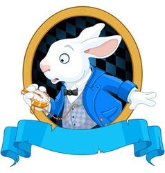 White rabbit with watch design vector