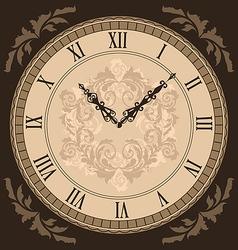 Close-up vintage clock with vignette arrows vector