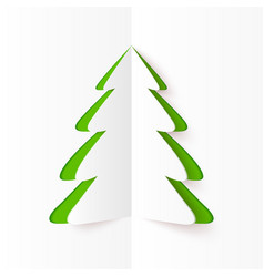 Green cutout paper christmas tree vector