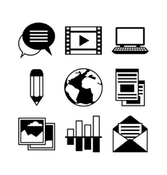 Media and communication set of blog icons vector
