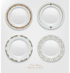 Set with patterns on plates vector