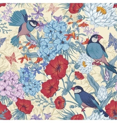 Retro summer seamless floral pattern with birds vector