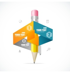 Creative paper and pencil infographics options vector
