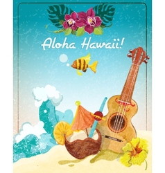 Hawaii guitar vacation poster vector
