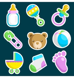 Colorful baby shower icons vector