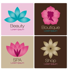 Spa flowers logo design elements vector