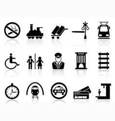 Train station and service icons vector
