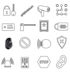 Security black simple outline icons set eps10 vector