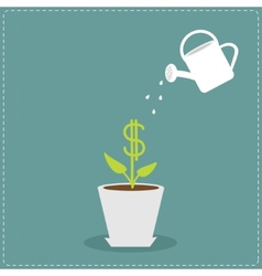Dollar plant in the pot and watering can financial vector