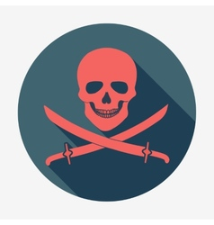 Pirate flag icon jolly roger skull and sabers vector