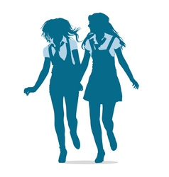 Silhouettes of teenage girls running together vector