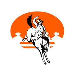 Rodeo cowboy riding bucking bronco horse vector