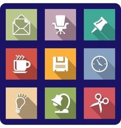 Office icons on coloured backgrounds vector
