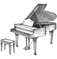 Grand piano and stool for a musician vector