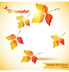 Autumn composition with yellow and red leaves vector