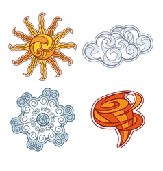 Abstract icon set of weather elements vector