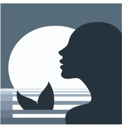 Mermaid in moonlight vector
