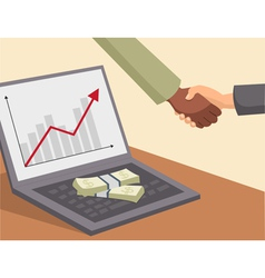 Handshake and money on laptop vector