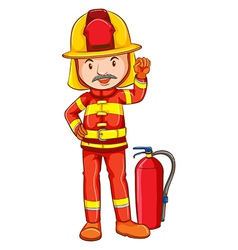 A simple drawing of a fireman vector