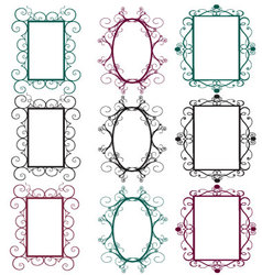 Vintage frames in diferents colors vector
