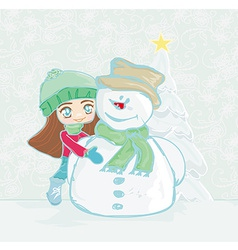 Little girl and snowman card vector