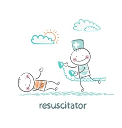 Resuscitation in a hurry to sick patient vector