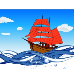 Sailboat with scarlet sail vector