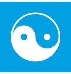 Yin yang white icon vector