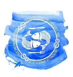 Seafood restaurant emblem with fish vector