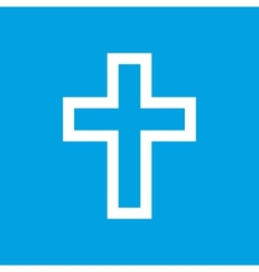 Protestant cross white icon vector