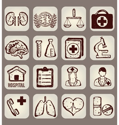 Set of calligraphic medical icons vector