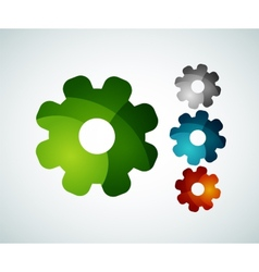 Gear logo design made of color pieces vector