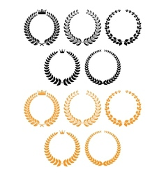 Golden and black laurel wreaths with crowns vector