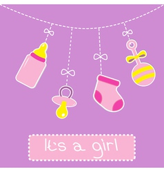 Hanging bottle pacifier rattle and sock baby girl vector