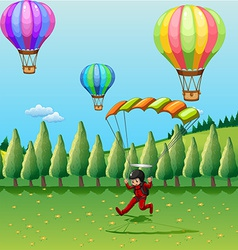 Balloons and parachute vector