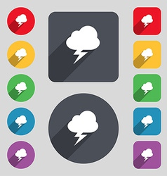 Storm icon sign a set of 12 colored buttons and a vector