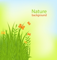 Summer background with grass and butterflies vector