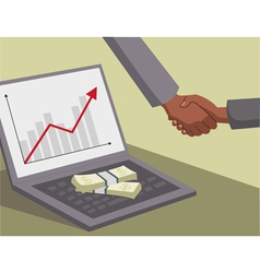 International handshake and money on laptop vector