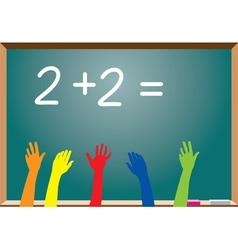 Blackboard and raised hands vector