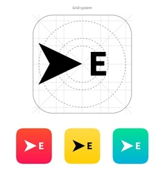 East direction compass icon vector