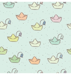 Seamless childish pattern with paper boats on the vector