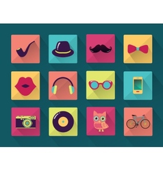 Flat long shadowed hipster icons vector
