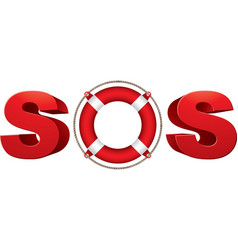 Sos signal with life ring 3d symbol vector
